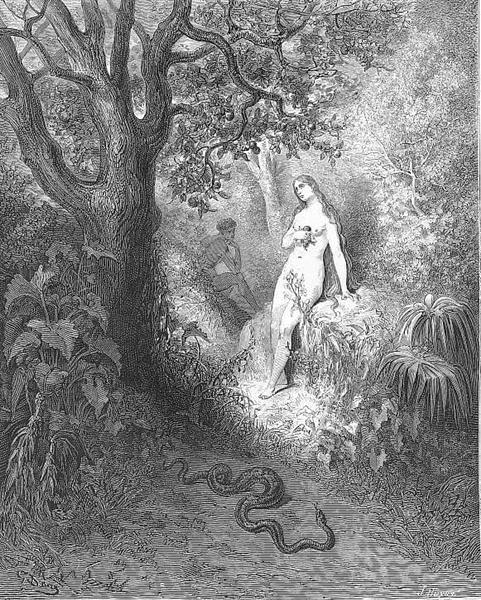 Back to the thicket slunk The guilty serpent - Dore Gustave