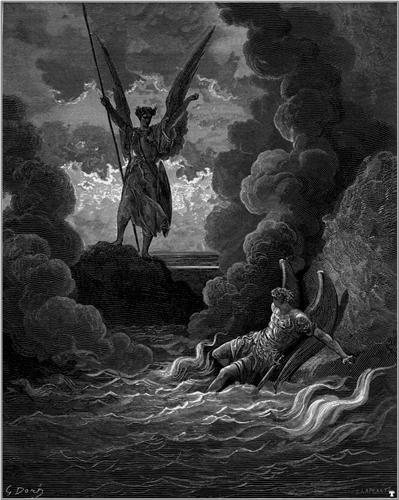 Forthwith upright he rears from off the pool His mighty stature - Gustave Dore