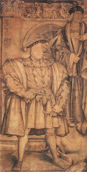 Henry VIII and Henry VII, cartoon for wall painting in Whitehall, 1537 - Hans Holbein the Younger