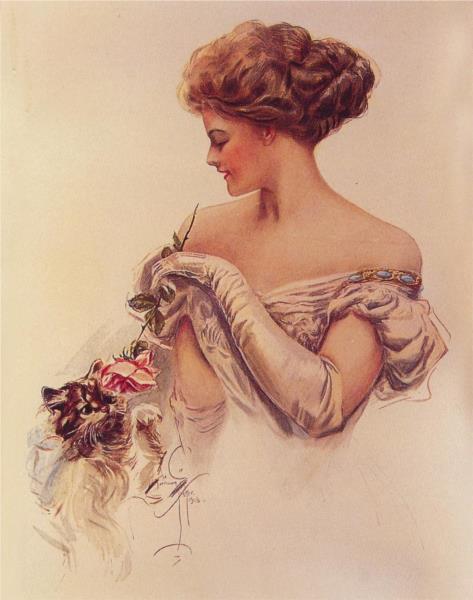 Pretty Woman Holding Kitten, 1909 - Харрісон Фішер