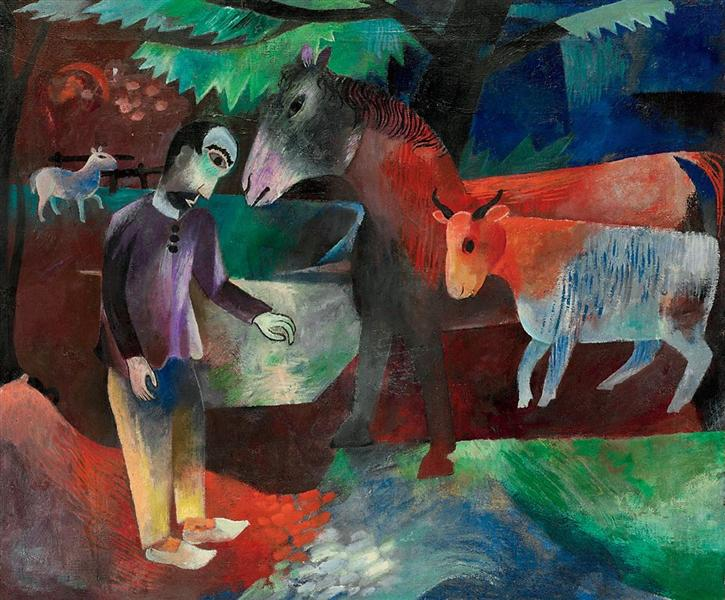 Mann, Pferd, Kuh, 1918 - Генрих Кампендонк