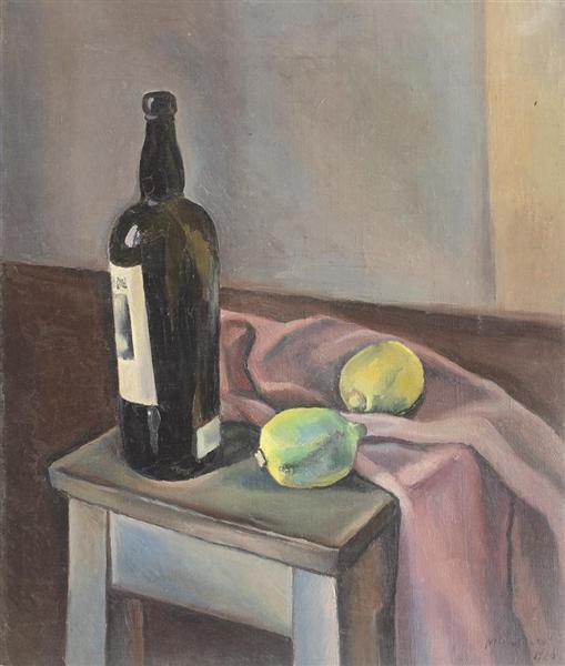 Still Life With Wine Bottle and Lemons, 1926 - Henri Catargi