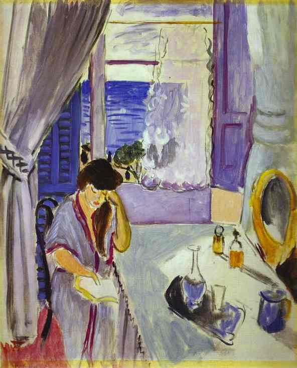 Woman reading at a dressing table interieur nice 1919 for Interieur cours nice