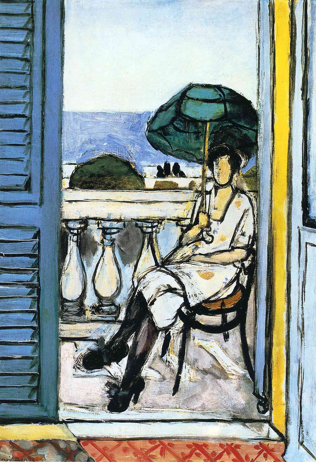 woman with a green parasol on a balcony henri matisse encyclopedia of visual arts. Black Bedroom Furniture Sets. Home Design Ideas
