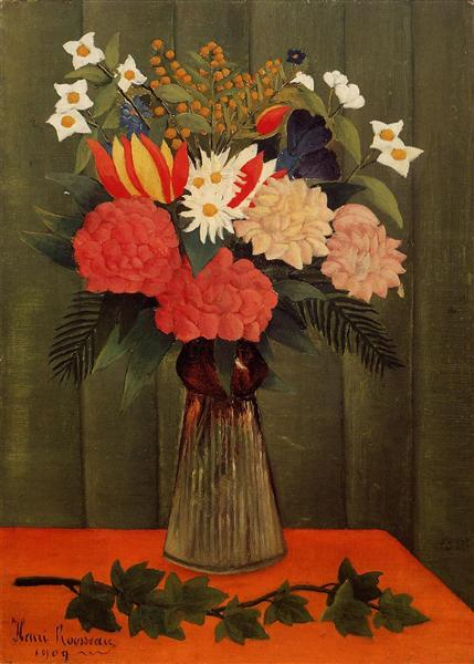 Bouquet of Flowers with an Ivy Branch, 1909 - Henri Rousseau