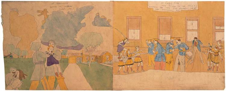 At Cedernine Jennie is bruttally treated. No 1 / At Cains Fair They Return - Henry Darger