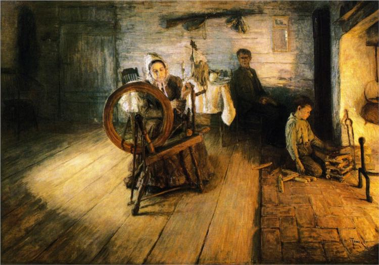 Spinning by Firelight - The Boyhood of George Washington Gray, 1894 - Henry Ossawa Tanner