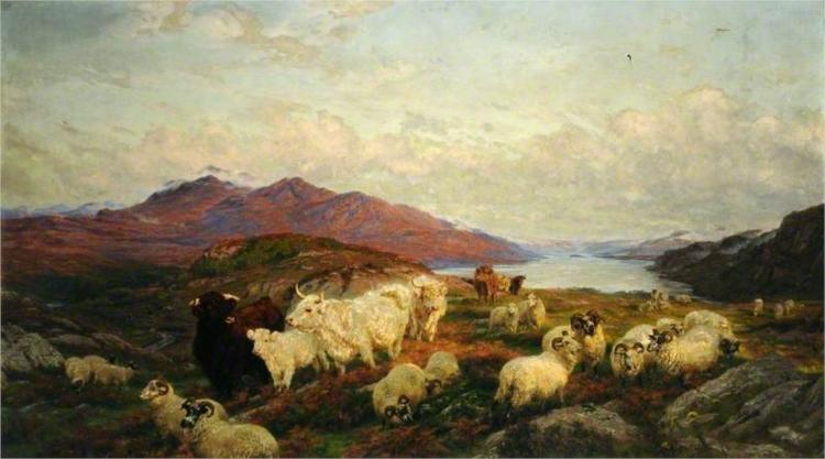 Landscape with Cattle and Sheep - Henry William Banks Davis