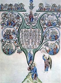 Geneology of Christ (folio 80v) - Herrad of Landsberg