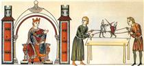 Fighting Knight-Puppets, from Hortus Deliciarum - Herrad of Landsberg
