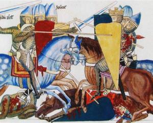 Joshua's Battle Against the Amalekites - Herrad of Landsberg