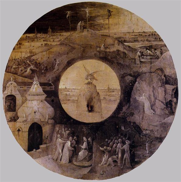 St John the Evangelist on Patmos (reverse), 1489 - 1499 - Hieronymus Bosch