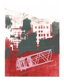 'New York City with Water Towers' No 1. - mono-print art, 2010; Dutch artist, Hilly van Eerten - Hilly van Eerten