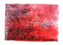 'Pavement - Red and Black Cobble-stones', - mono-print, 2006; artist Hilly van Eerten - Hilly van Eerten