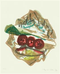 'Still-life of Food' - lithography fine print art, 1997; graphic artist Hilly van Eerten - Hilly van Eerten