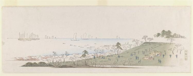 Cherry blossom Time, People Picknicking at Gotenyama, 1836 - 1843 - Hiroshige
