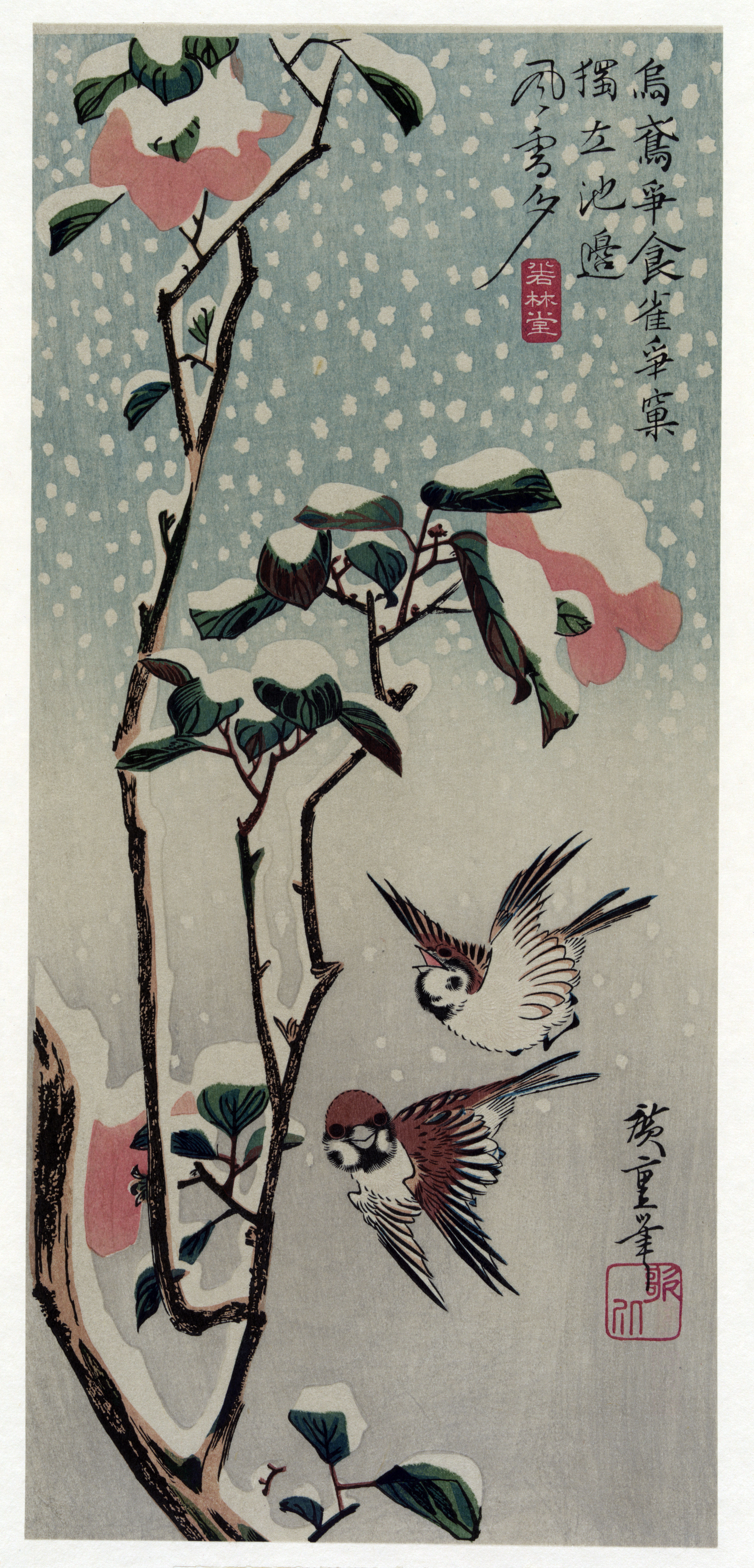 Sparrows and Camellias in the Snow - Hiroshige - WikiArt ...