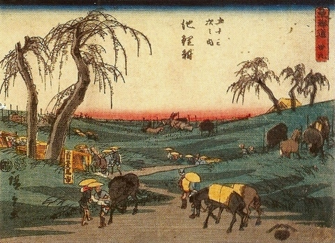 The road connecting Edo (Tokyo) and Kyoto, 1850 - Hiroshige