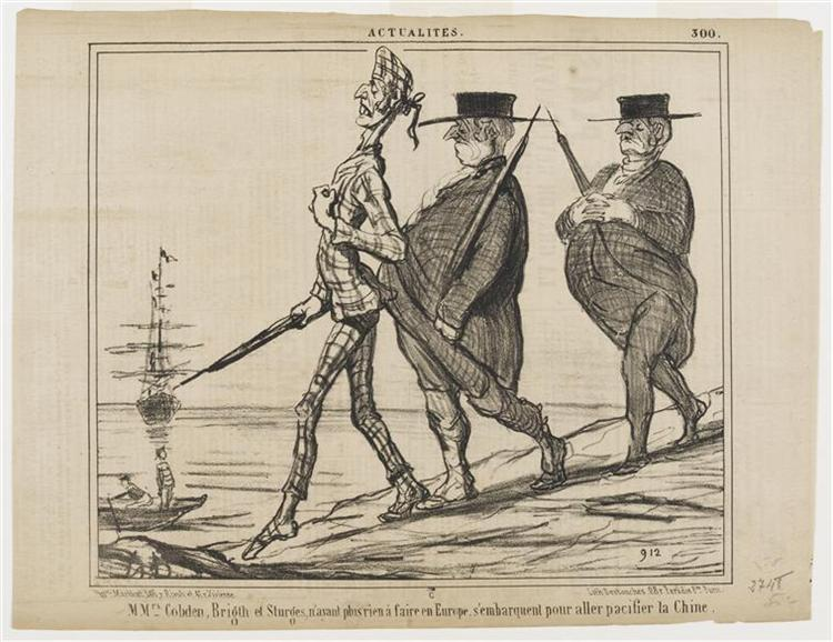 Mmrs Cobden, Bright and Sturges Had Nothing to do in Europe, Sailed to Go Pacify - Honore Daumier