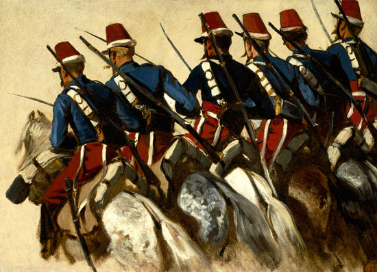 A Row of Calvarymen on Horseback - Horace Vernet