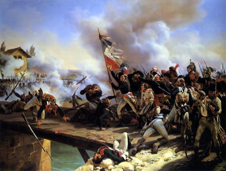 Napoleon Bonaparte leading his troops over the bridge of Arcol, 1826 - Horace Vernet