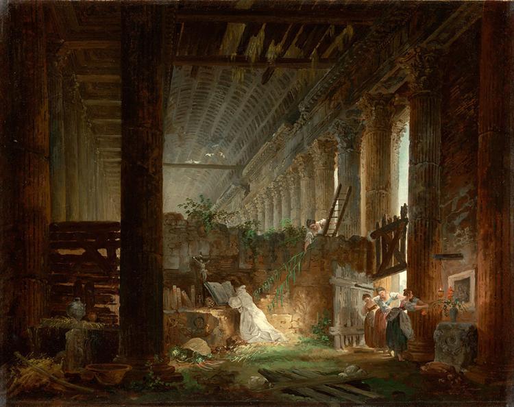 A Hermit Praying in the Ruins of a Roman Temple, 1760 - Hubert Robert