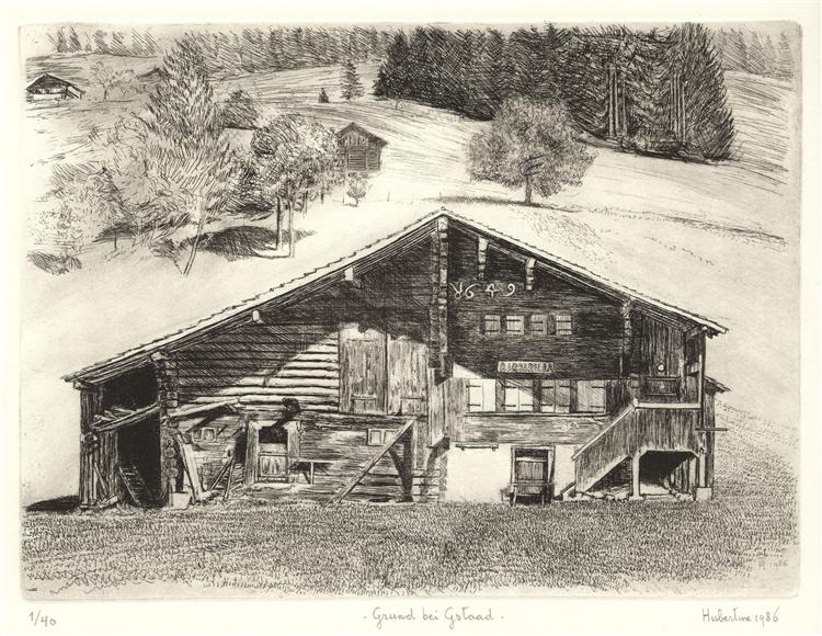 Grund bei Gstaad - chalet Barbarella anno 1649, Pays-d'Enhaut near Feutersoey, Switzerland -etching art, 1986 - Hubertine Heijermans