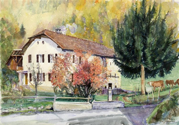 House of the Dime in the village Glutières; a tax house in the Canton Vaud, Switzerland - watercolor painting - Hubertine Heijermans