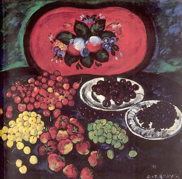 Berries on the background of a red tray, 1908 - Ilya Mashkov