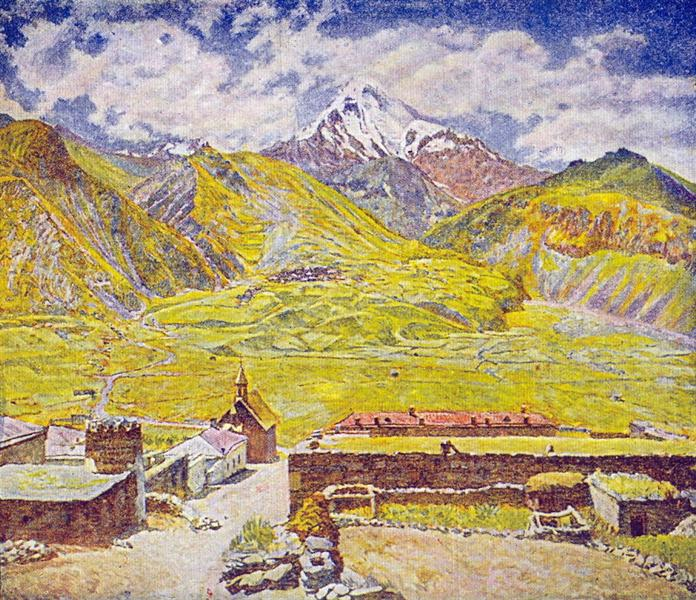 Georgia. Kazbek (day). Georgian Military Road. Mountain and village, c.1920 - Ilia Machkov