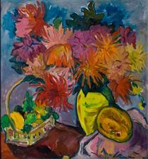 Still Life with Dahlias and Fruit - Irma Stern