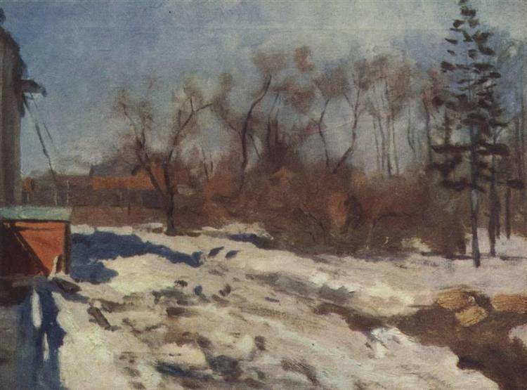 Early spring. Botanical garden., 1900 - Isaac Levitan
