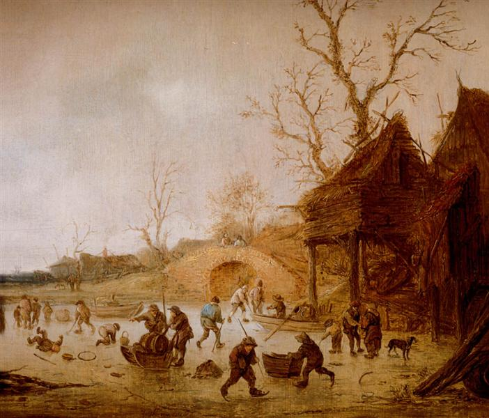A Winter Landscape with Skaters, Children Playing Kolf and Figures with Sledges on the Ice near a Bridge - Isaac van Ostade