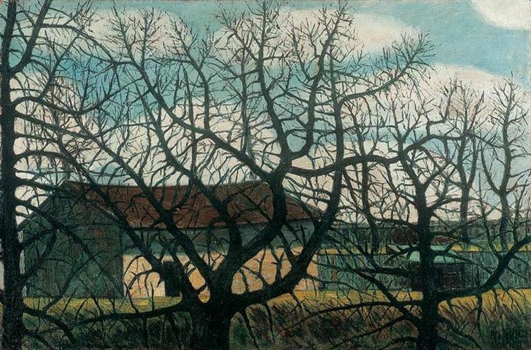 Bald trees with houses, 1911 - Istvan Nagy