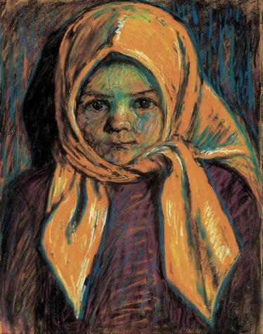 Little girl with yellow babushka, 1917 - István Nagy