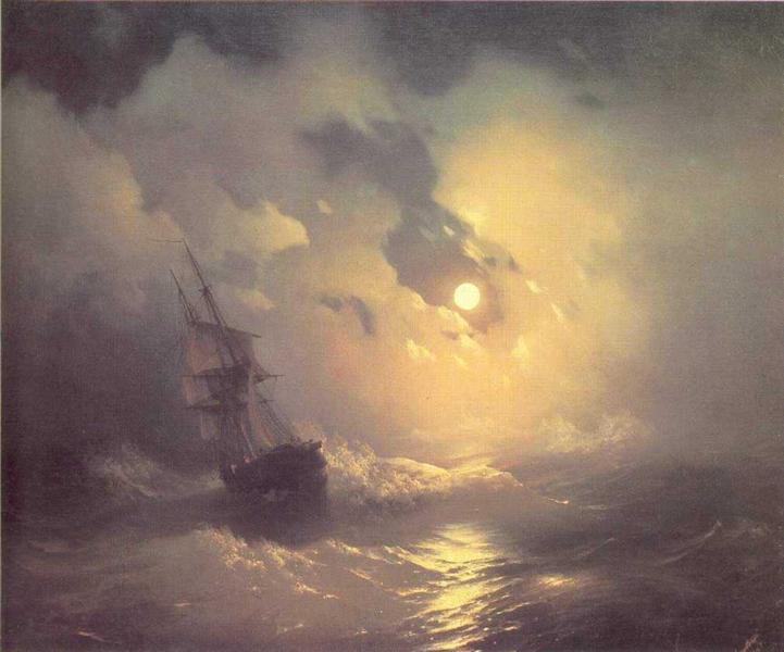 Tempest on the sea at nidht, 1849 - Ivan Aivazovsky