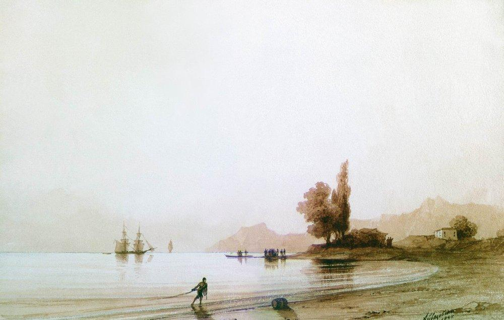 View on rocky coast, 1845