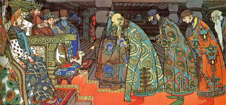 Merchants. Illustration for Alexander Pushkin's 'Fairytale of the Tsar Saltan', 1905 - Ivan Bilibin