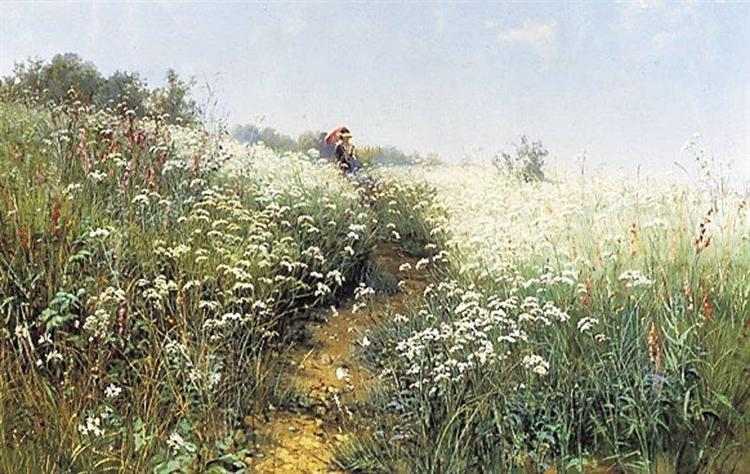 A woman under an umbrella on a flowering meadow, 1881 - Ivan Shishkin