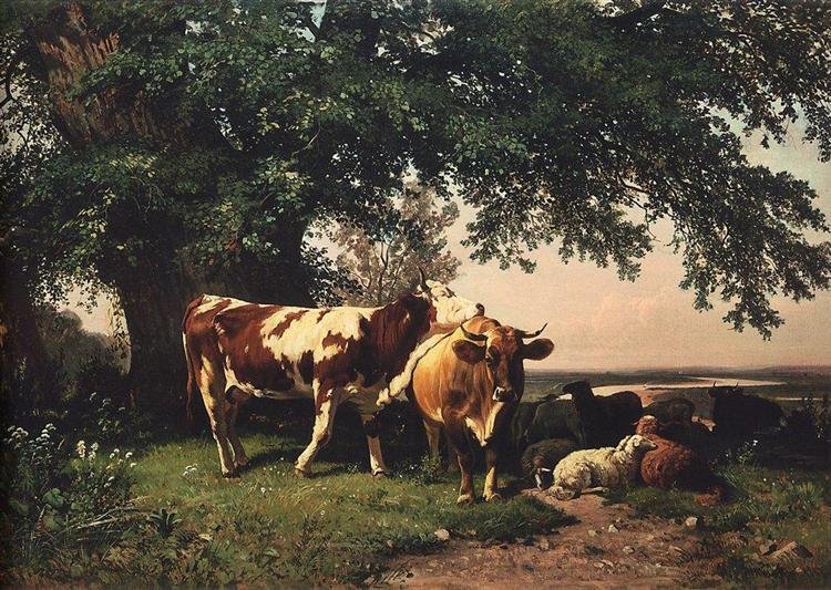 Herd under the trees, 1864 - Ivan Shishkin