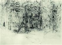 Sketch of the painting in 1898 - Іван Шишкін