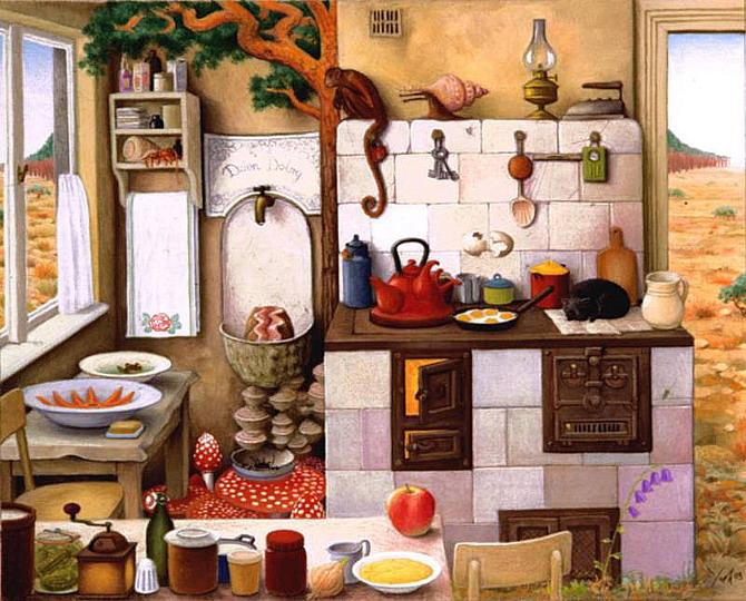 Grandma's Kitchen - Jacek Yerka