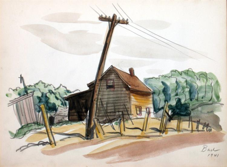 Untitled, House and Telephone Pole, 1941 - Jack Bush