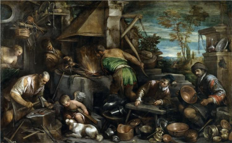 The Forge of Vulcan, 1585 - Jacopo Bassano