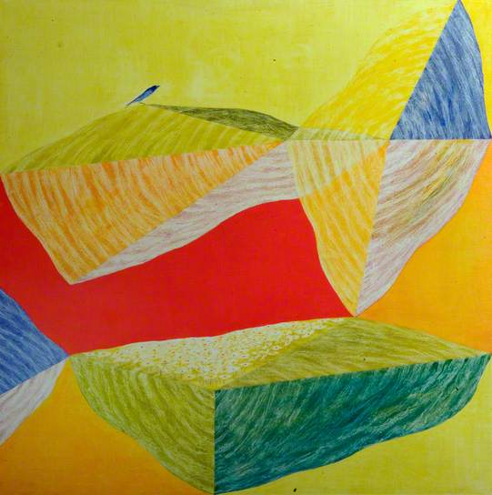 Red and Yellow with Bird, 1972 - Jagdish Swaminathan