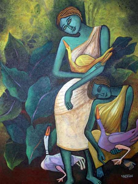 Lady with Ducks VII, 2006 - Jahar Dasgupta
