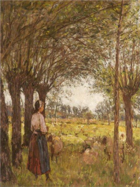 French Girl Minding Sheep - James Charles