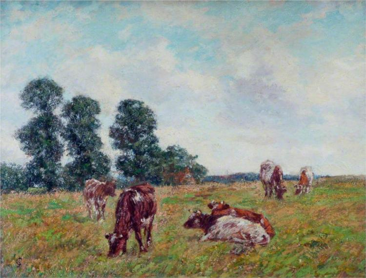 Meadow Scene with Cattle and Trees - James Charles