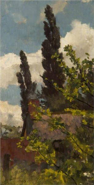 Rooftops and Poplars, 1883 - James Charles