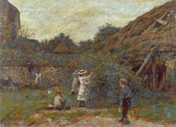 Scene in a Farmyard with Children Picking Fruit, 1901 - James Charles